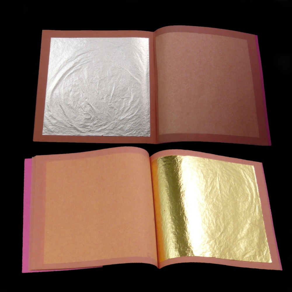 50 sheets in 2 booklets of 25 pcs genuine 24K edible gold leaf and 25 pcs genuine 99.9% silver leaf  for gilding-in Craft Paper from Home & Garden    1