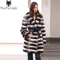 New Style Chinchilla Fur Coats For Women Rex Rabbit Fur Coat With Collar Real Fur Coat Real Fur