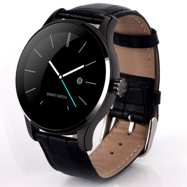 2017 nova k88h smart watch com 1.22 polegada ips rodada Apoio tela Anti-perdido Relógio Monitor de Freqüência Cardíaca Bluetooth Para IOS Android