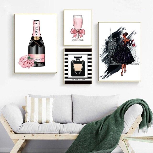 Merveilleux Fashion Perfume Girl Art Canvas Poster Print Minimalist Champagne Painting  Decoration Picture Girls Bedroom Decor 50x75cm