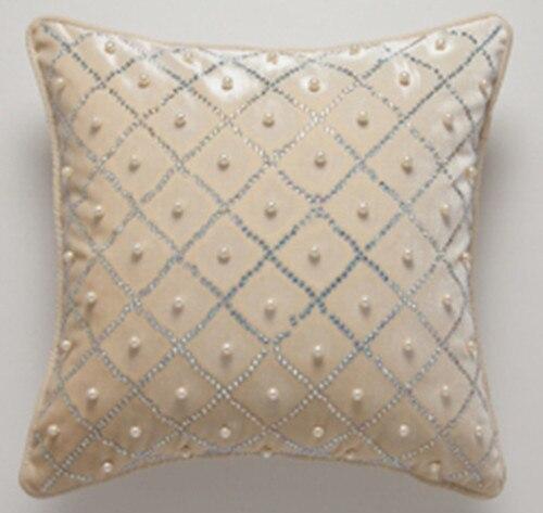 Solide Beige luxe fait à la main cristal diamant perle mode Art décoratif voiture canapé maison taie d'oreiller housse de coussin jeter Sham