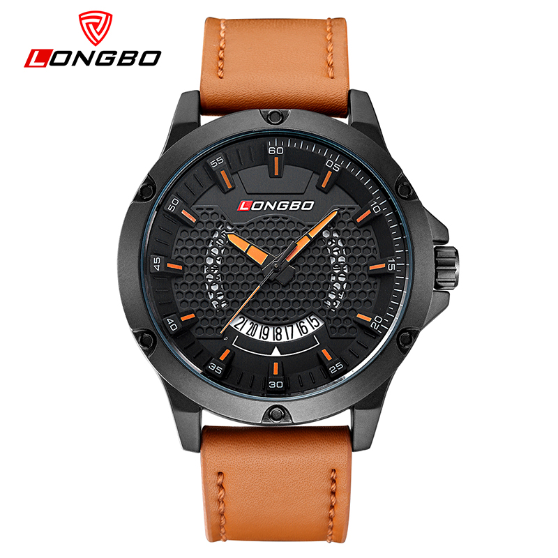Fashion Longbo Brand Luxury Casual Hollow Out Dial Unique Design Watches Leather Date Calendar Men Women Waterproof Wristwatches