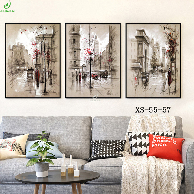 Set 3 Pictures Canvas Print Wall Art Modern Painting Paris Street ...