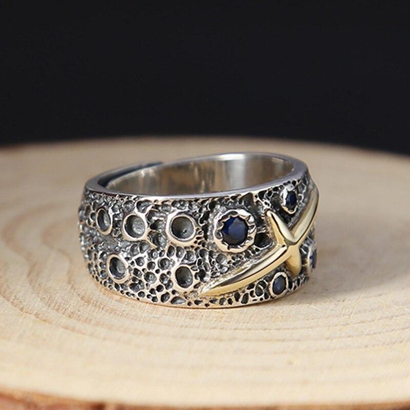 Véritable S925 argent or couleur croix hommes anneau de haute qualité Thai argent bleu étoilé rétro ouvert anneau cadeau d'anniversaire bijoux en gros - 4
