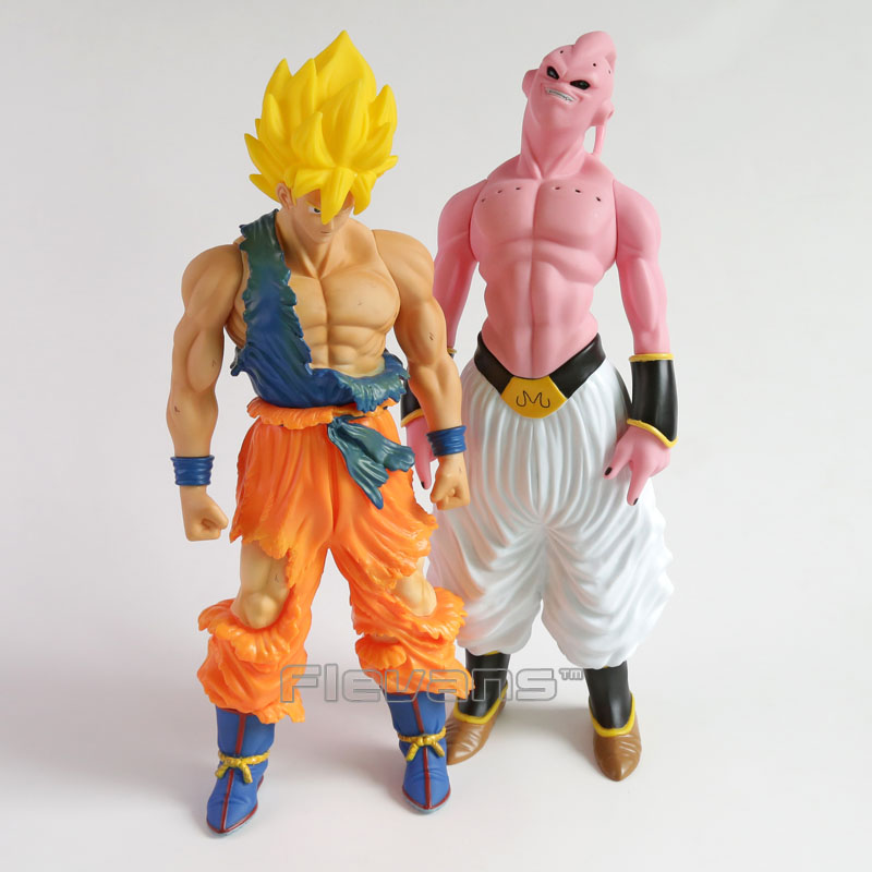 Dragon Ball Z Super Saiyan Son Goku Gokou / Majin Buu Super Big 43cm PVC Action Figure Collectible Model Toy dragon ball z son goku vs broly super saiyan pvc action figures dragon ball z anime collectible model toy set dbz