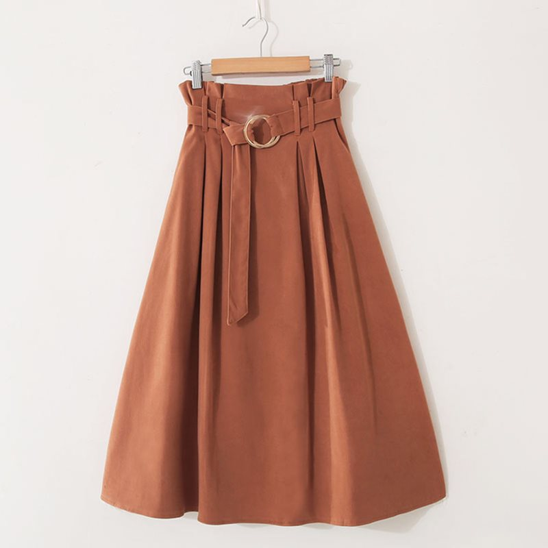 Korean Style Retro Skirts Casual Sweet Elegant OL Lady Beach High Waist Plain Pleated Summer 2019 Female Fashion Vintage Skirt