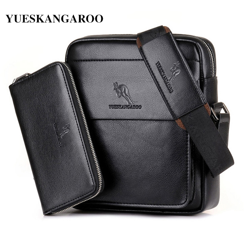YES KANGAROO Luxury Brand Casual Men Väska Vertikal Business Läder Axelväska Vintage Man Crossbody Messenger Väska Med Plånbok
