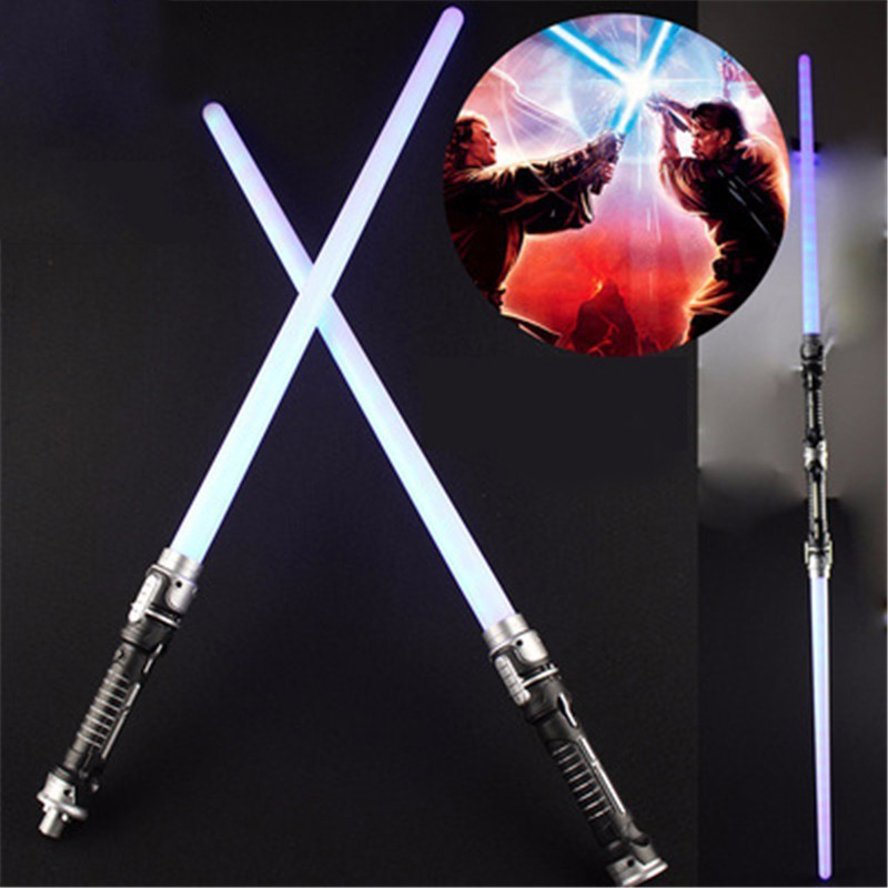 2 Pieces Glowing Star Wars Lightsaber Darth Vader Cosplay Props With Lights Saber Sword Figure Toy For Boys Christmas Gifts cool moana maui heihei led weapons light sound saber fishing hook action figures moana adventure lightsaber toy gift