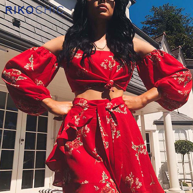 b25fce22ee9351 RIKOCHIC 2 piece sets women suit crop top and skirt set red floral wrap off  shoulder