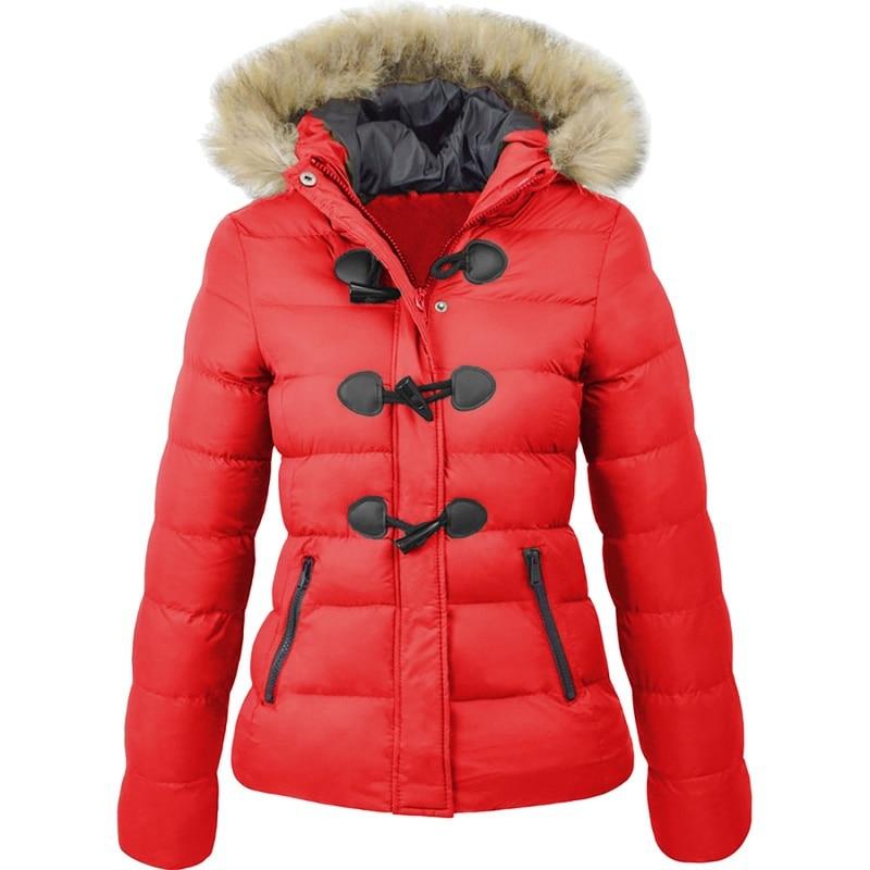 ZOGAA winter jacket women 2019 Snow Coat Women Casual Fur Collar Horn Buckle Slim Oversize Female Jacket Overcoat Warm Parkas in Parkas from Women 39 s Clothing