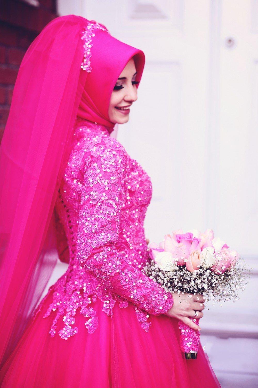 2017 Red Islamic Wedding Dress Ball Gown High Neck Long