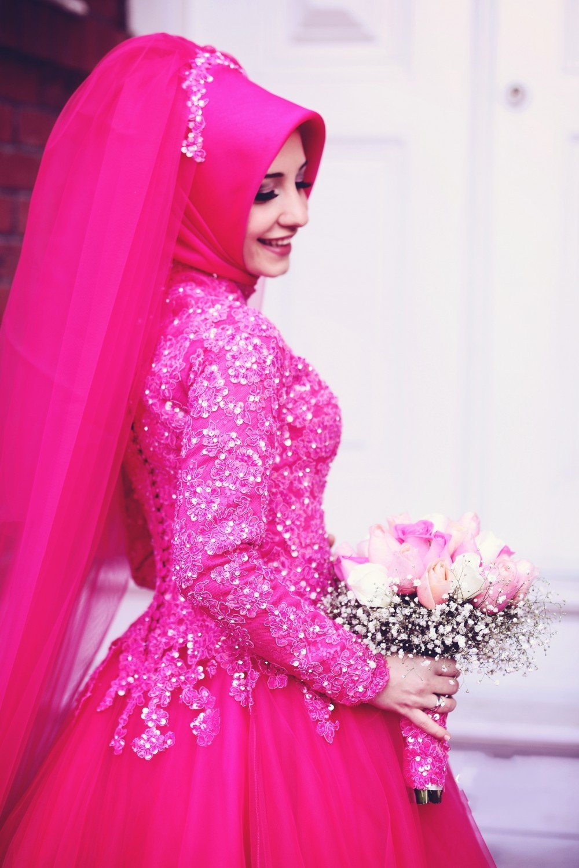 Modern Lantern Long Sleeve Chiffon Muslim Wedding Dress With Hijab muslim wedding dresses