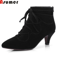 Asumer Black Nude Color New Arrive Women Boots Zipper Cow Suede Boots Pointed Toe Cross Tied