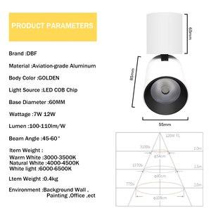 Image 5 - [DBF] 접이식 LED 표면 장착 Downlight 7W 12W 블랙/화이트 하우징 360 학위 회전 3000K/4000K/6000K 천장 스포트 라이트