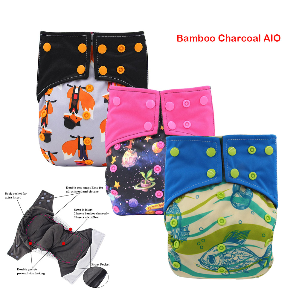 Ohbabyka Baby Diaper Cover AIO Cloth Diaper Sewn Insert Charcoal Bamboo Baby Nappies Washable Reusable Pocket Diaper For Night
