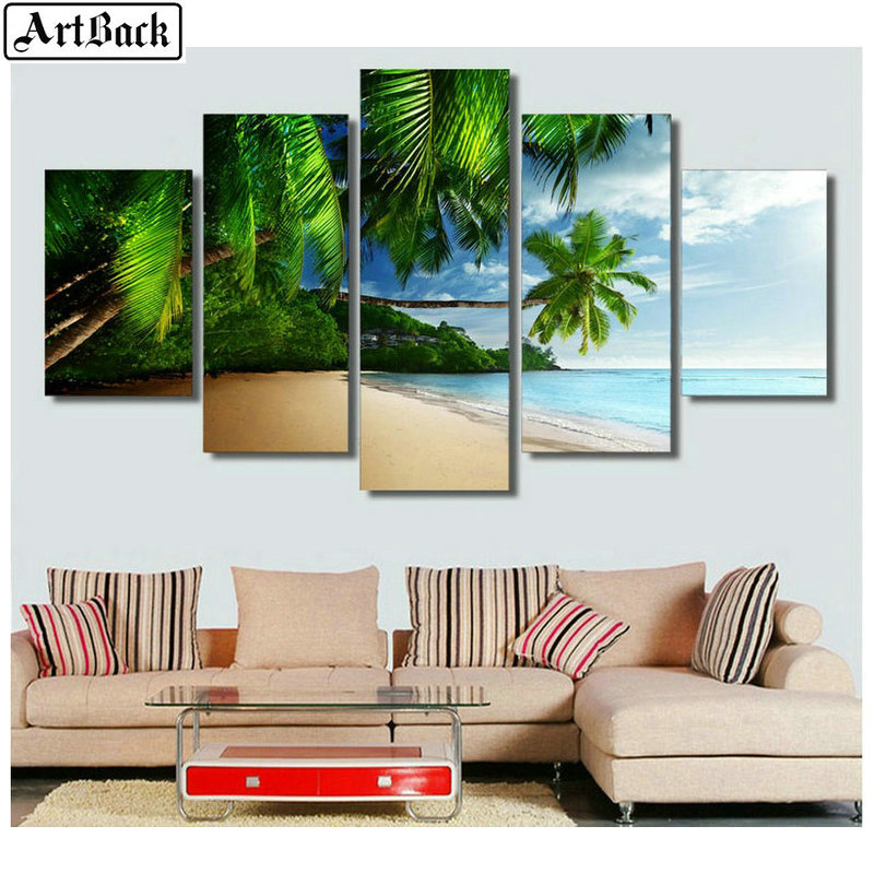 5 spell painting beach tree landscape full square drill 5d diamond painting 3d diamond embroidery kit