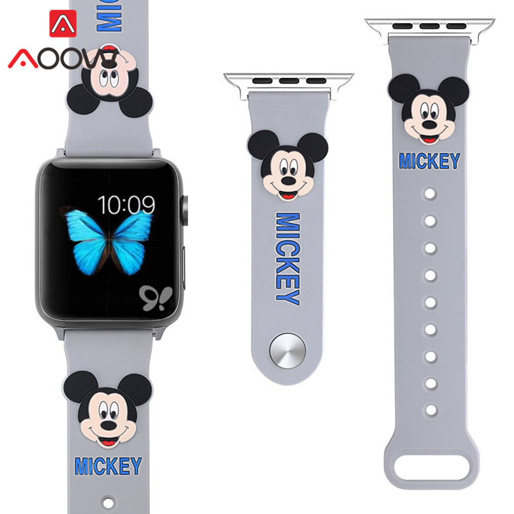 Soft Silicone Watchband for Apple Watch 38mm 42mm 40mm 44mm Cute Mickey Mouse Replacement Bracelet Strap Band for iwatch 1 2 3 4Soft Silicone Watchband for Apple Watch 38mm 42mm 40mm 44mm Cute Mickey Mouse Replacement Bracelet Strap Band for iwatch 1 2 3 4