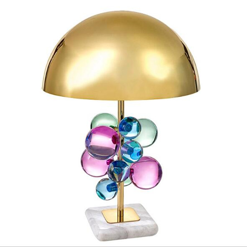 Post modern Creative Luxurious Designer Colorful Crystal Golden Metal Marble Table Lamp for Wedding Deco Living Room Bedroom LED Table Lamps     - title=