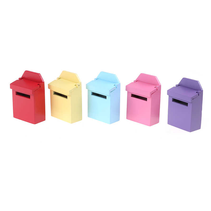 2019 Hot Mini Dollhouse Miniatures 1:12 Casa de Boneca De Madeira de Madeira Pequena Caixa de Correio Caixa de Correio DIY Boneca Mobiliário 5 Cores