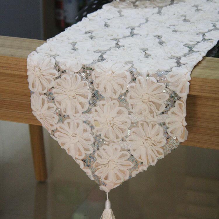 Новый Красота кружева цветок столбец Бегун Мат ужин фортепиано регистрации Главная ткань DEC белый оптовая продажа