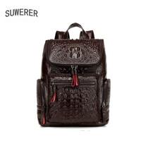 SUWERER Новинка 2019 года для мужчин пояса из натуральной кожи сумка известный бренд сумки для отдыха Модные Мужской вместительный рюкзак