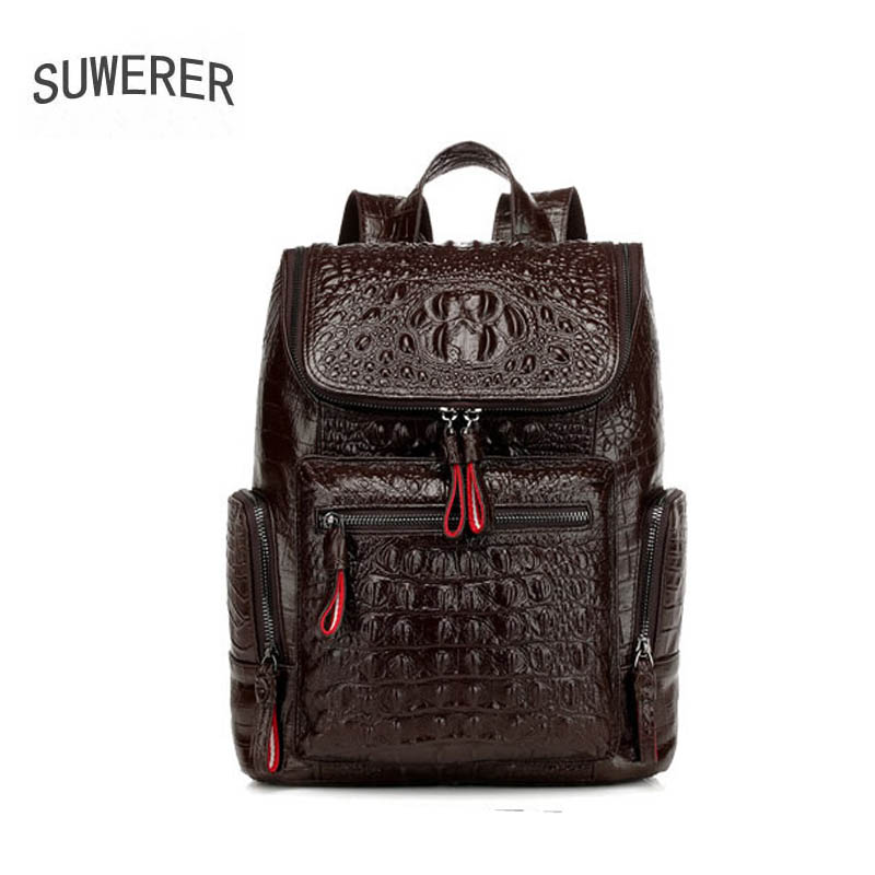 SUWERER 2020 New Men Genuine Leather Bag Famou Brand Real Leather Men Bags Leisure Fashion Big Capacity Men Backpack