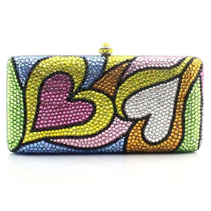 girls birthday multicolor heart print party evening bags luxury crystal diamond clutch small purse bag for women gift box set girls print purse