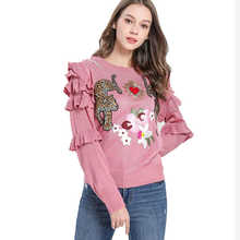Autumn Winter Animal Embroidery Knitted Sweaters Pullovers Women Runway Design Ruffle Elegant Top Clothes Lady Jumper  C-193