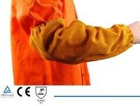 Welding Cowhide Leather Sleeves 16 Welder KEVLAR Stitched 40cm Length CE Golden