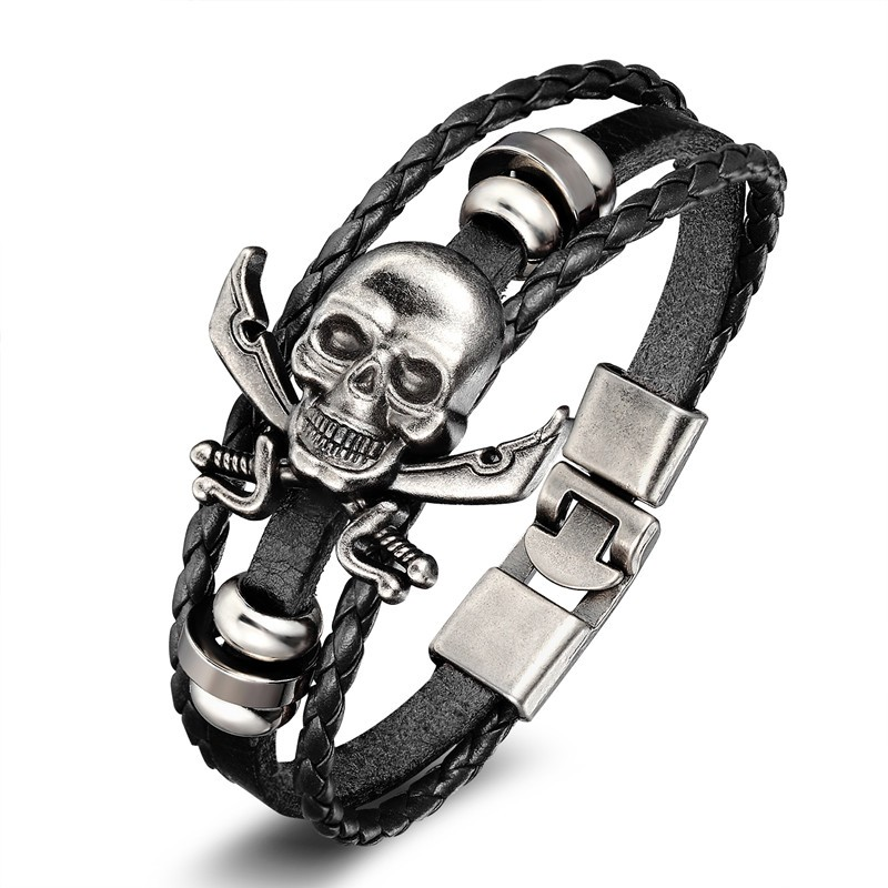 18 New Fashion 3 layer Leather Skull Bracelets&Bangles Handmade Round Rope Turn Buckle Bracelet For Women Men Charm bracelet 7