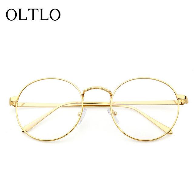 OLTLO Vidros Do Vintage Quadro de Moda Marca Designer Homens Mulheres Mulher Lente Óptica Clássicos Óculos Redondos Barato Claro Transparente