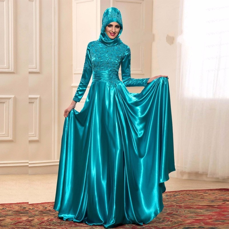 Elegant Muslim Teal Green Long Sleeve Evening Dresses 2019 With Lace Applique Moroccan Kaftan Formal Party Gown
