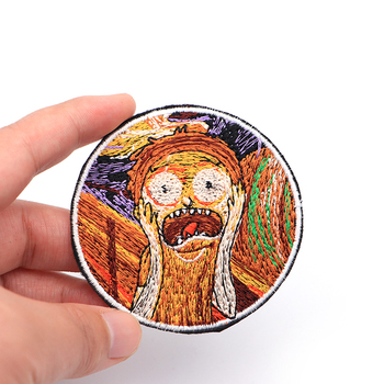 100pcs/lot Creative Funny Rick Scream Edward Painting Cartoon Parches Embroidered Iron on Patches for Clothing Stickers SC4048