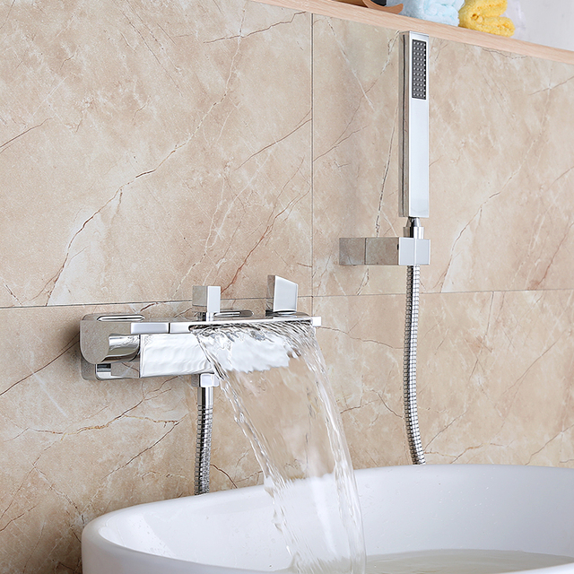 Luxury Bathroom Shower Faucet Chrome Finished Waterfall Bath Faucet Mixer Tap With Hand Shower Head Shower Faucet Set Wall Mount