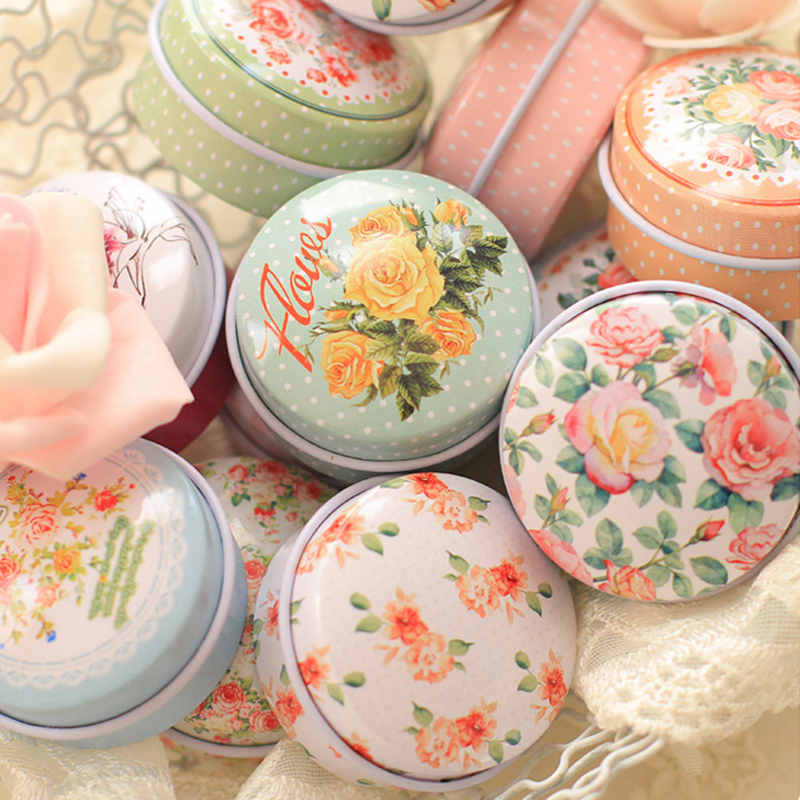 Pure And Fresh Flower Print Small Tin Box Kawaii Mac Cosmetics Trinket Organizer Mini Container For Tea Pill Coin Box 027-3 ...