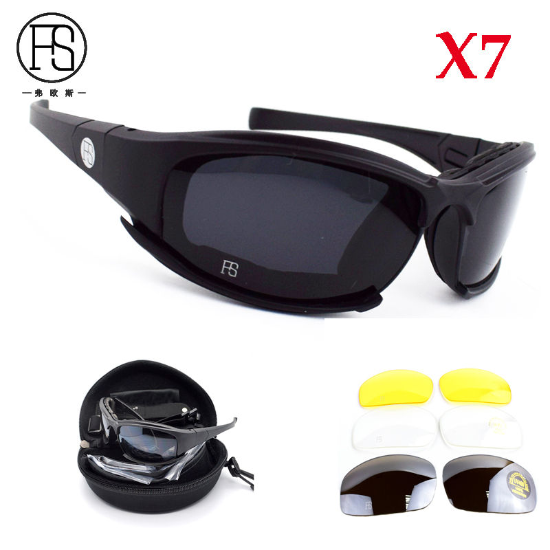 X7 Tactical Polarized Sport Glasses Outdoor Hiking UV400 Protection Sunglasses CS War Game Safety Goggles 4 Lens Kit