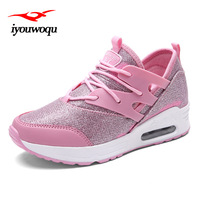 Adult Light Up Shoes Women Running Shoes Outdoor Fitness Walking Wedges Platform Black Pink Gray Sneakers