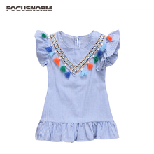 Newest Pretty Toddler Baby Kids Girls Retro Striped Summer Dress Party Fashion Tassels Sleeveless A-line Sundress Clothes