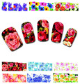100Sheets XF1372-1421 Nail Art Flower Water Tranfer Sticker Nails Beauty Wraps Foil Polish Decals Temporary Tattoos Watermark