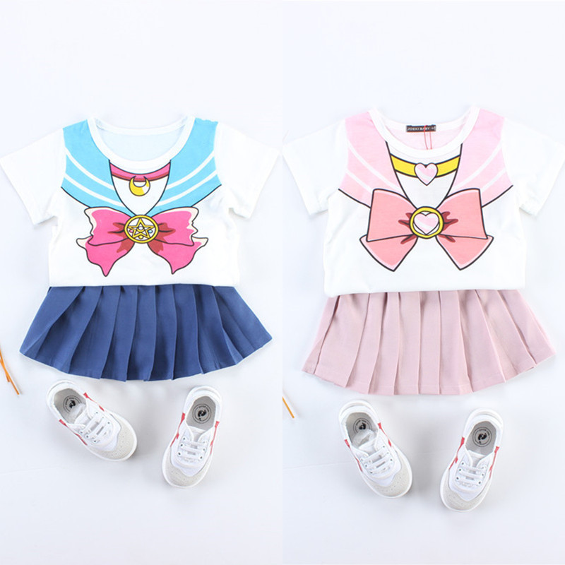 2017 Summer Girls Skirt Set Sailor Moon Chibi Baby Halloween Seifuku Costume Baby Toddler Outfit Kids Cosplay Dress
