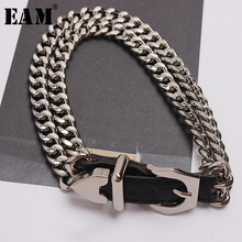 [EAM] 2020 New Spring Summer Pu Leather Chain Split Joint Personality Women Accessories Bracelet Fashion Tide All match JT750