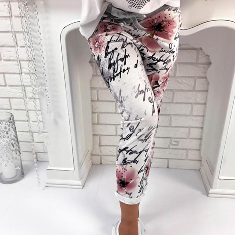 Elegante Signora Pantaloni Mimetici Autunno Stampato Floreale Sliming Pantaloni Extender Fitness Capris Delle Donne Harajuku Femminile Pantaloni Z30