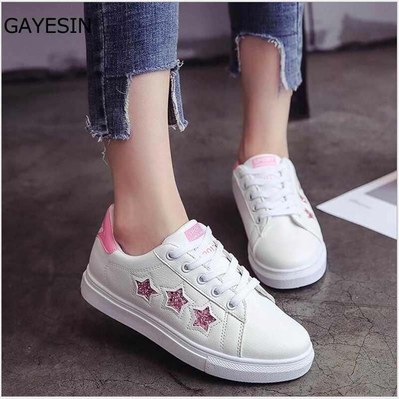 bcd634e6fd6bae D'été Et Nouveau Printemps Blanc Chaussures Cuir Conseil Plat Femmes  Sneakers Tenis Femelle vert Noir ...
