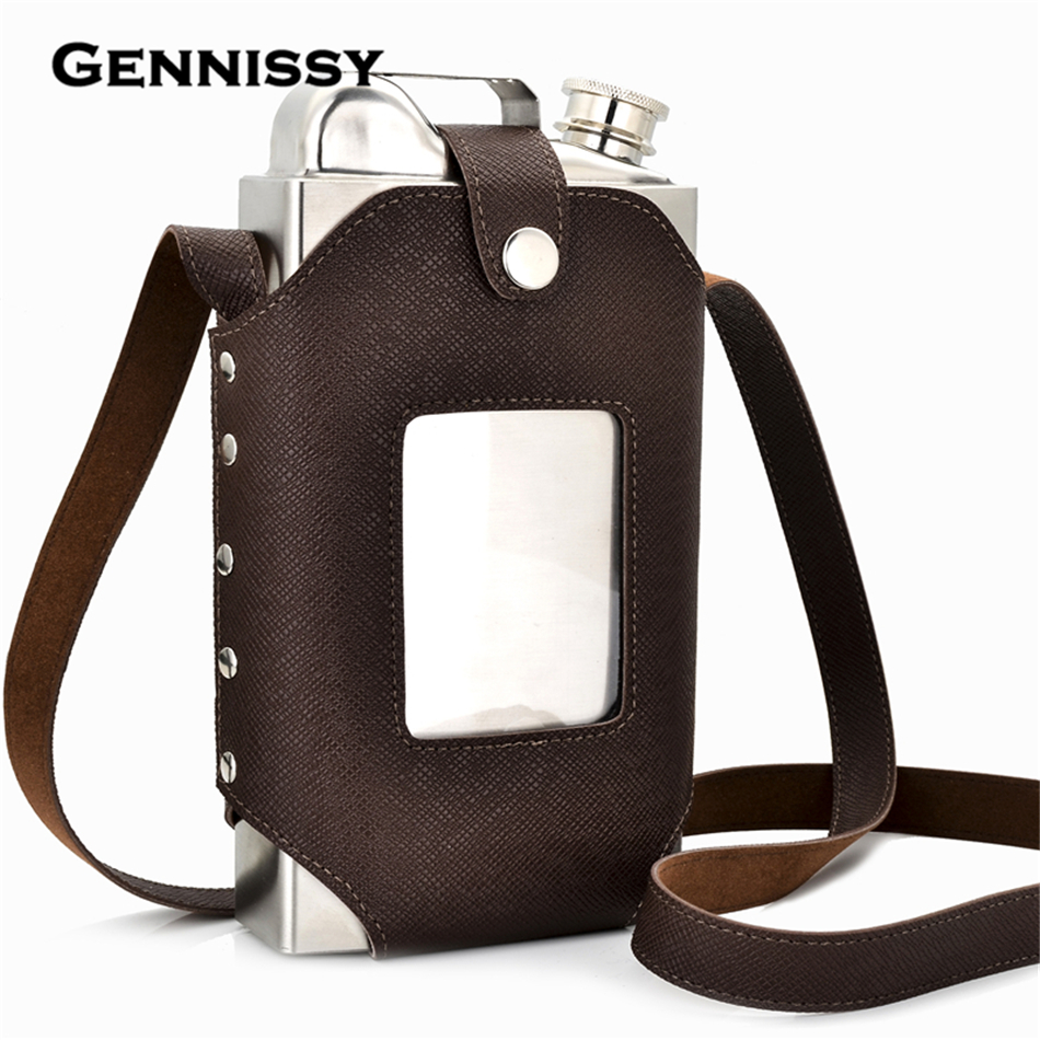 GENNISSY 35oz Big Hip Flask with Super Good Quality Leather Holster Large Capacity Stainless Steel Steel