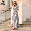 YEJIA FASHION Women Black White Long Maxi Striped Shirt Dress Ladies Sexy Elegant Design Long Sleeve Evening Party Split Dresses