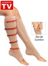 Сокс носком колена открытым zip поддержки чулки молнии сжатия ног пара