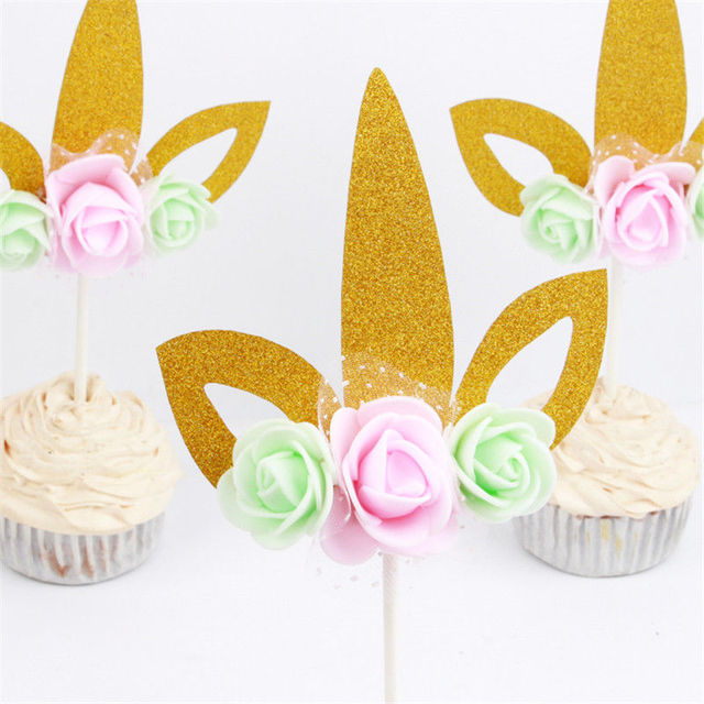 Hot Sale 1pcs Lovely Cupcake Topper Bunting Banner Party Happy