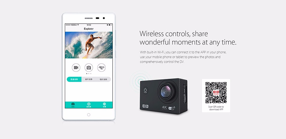 ELEPHONE ELE CAM EXPLOYER WIFI ALIWINNER V3 2 INCH TFT LCD 4K 15FPS WATERPROOF ACTION SPORT CAMERA  08