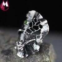 100% 990 Sterling Silver Ring For Women Original Design Handmade Vintage Hollow Lotus Leaces Flower Jade Ring Fine Jewelry SR31