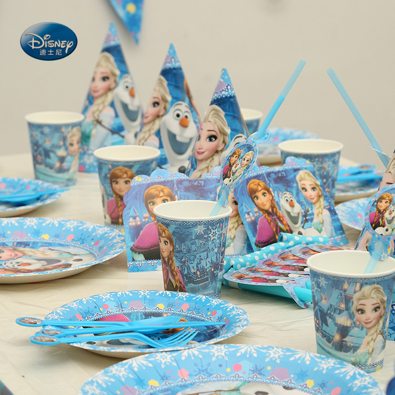 232pcs lot Frozen Party Suitable for 24 people High quality Tableware Set total Children Birthday Party